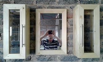 Solid pine bathroom cabinet sets. Price R700 a set.