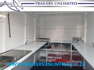 TRAILERS UNLIMITED THE CLEANEST MOBILE KITCHENS IN AFRICA. 3500 X 2000 X 2000mm FULLY EQUIPED CATERING UNIT.