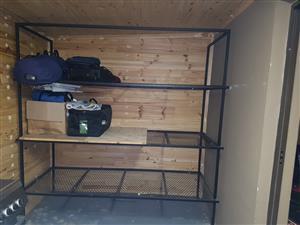 Steel shelving unit and steel framed workshop bench