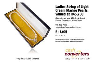 Ladies String of Light Cream Marine Pearls valued at R45,700