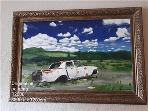 Framed landscape car ruin oil painting