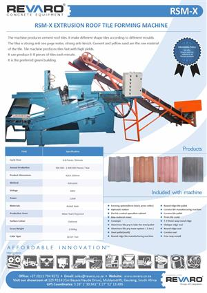 Roof tile machine extrusion type make from 500 to 4000 tiles per day