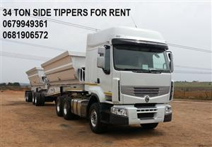 34 TON SIDE TIPPERS AVAILABLE FOR RENT / HIRE 0681906572