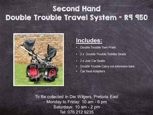 Second Hand Double Trouble Travel System with Joie Car Seats