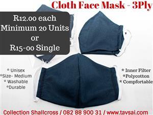 3 Ply Handmade Cloth Masks - Unisex