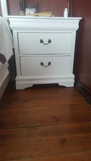BEDSIDE TABLE, CHEST OF DRAWERS AND CUPBOARD TO MATCH