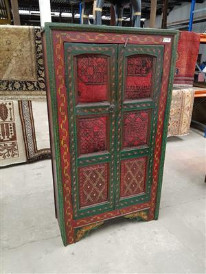 Red and green 2 door floral pattern cabinet
