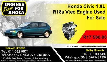 Honda Civic 1.8L R18a Vtec Engine Used For Sale.