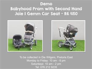 Demo Babyhood Pram with Second Hand Joie I Gemm Car Seat