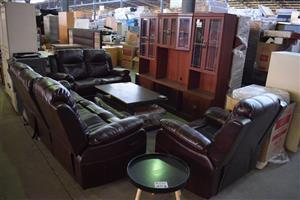 4 Piece chocolate leather lounge suite
