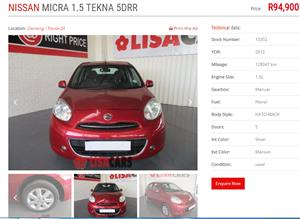 2012 Nissan Micra 1.5dCi 5 door Acenta+