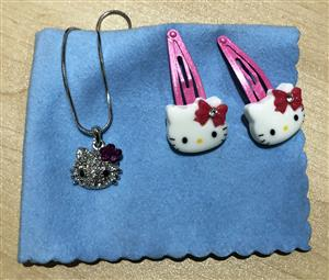 Hello Kitty Pendant, Silver Necklace and Hair Clips