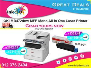 OKI MB472dnw MFP Mono All in One Laser Printer