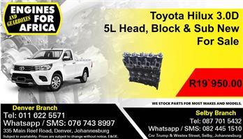 Toyota Hilux 3.0D 5L Head, Block & Sub New For Sale.