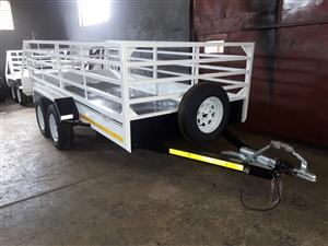 4M DOUBLE AXLE TRAILER WITH BRAKES FOR SALE, BRAND NEW, PAPERS INCL