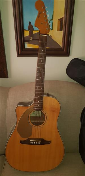 Lefty Fender Sonoran Acoustic-Electric Guitar (Natural Finish) with Bag