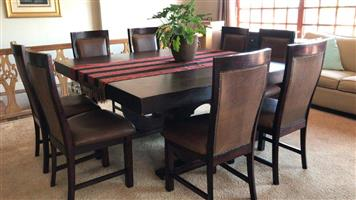 DININGROOM SUITE. TABLE AND 8 x GENUINE LEATHER CHAIRS. WOODEN WAYS Dining room table with 8 x genuine full hide leather chairs