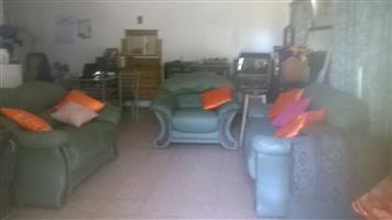 Genuine Leather lounge suite. 3 piece. Green.  Was R8500. Now R6500. Used.