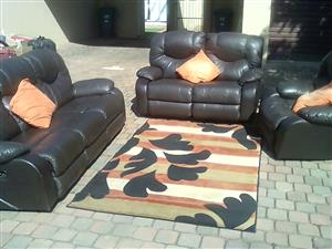 3 piece brown leather recliner lounge suite