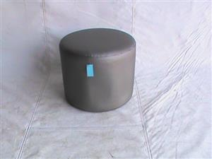 Round black leather grey ottoman
