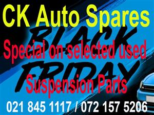 Black Friday Special on selected used Suspension parts for most vehicle makes and models.