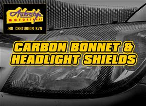 Carbon look headlight shields and bonnet guards for most popular vehicles.