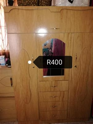 3 Door wooden closet with mirror and drawers