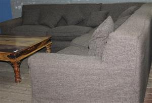 S034293A Brown L-shaped couch #Rosettenvillepawnshop