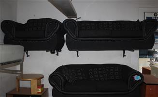 Black Corduroy 3-Piece USED Lounge Suite