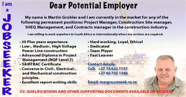 Seeking Construction Site Management / Construction Project Management / SHEQ Management position!!