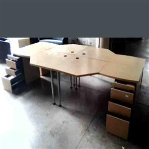 4 Way cluster desk b/w plus pedestal