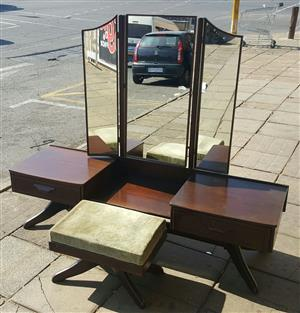 Dressing Table and Chair Brown in colour  One big Mirror with two side Mirrors