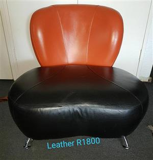 Leather black and orange chair