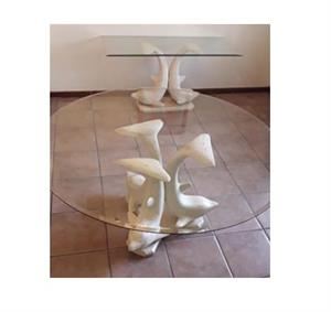 Reduced!! Exquisite Dolphin-themed Glass and Resin Designer Round Dining room table with 6 chairs and side serving table
