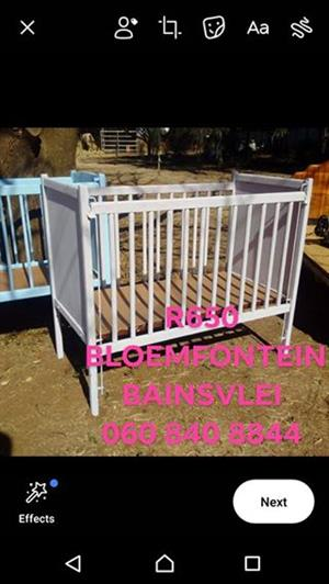 Dusty Pink wooden cot for sale