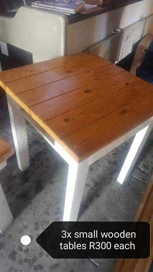Small wooden tables