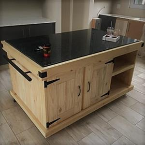 Kitchen Island Farmhouse Elegant series 1600 granite top with 4 doors and mobile Raw