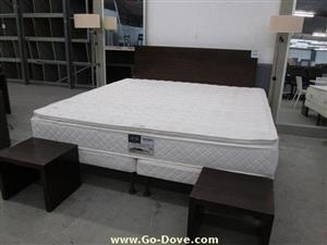 Extra Length 5 Star Simmons Super King Size Pillowtop Beds & Bases with Headboard& 2 Pedestals-R 3900