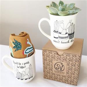 Sugar and Vice Cactus Sock & Mug Gift Set