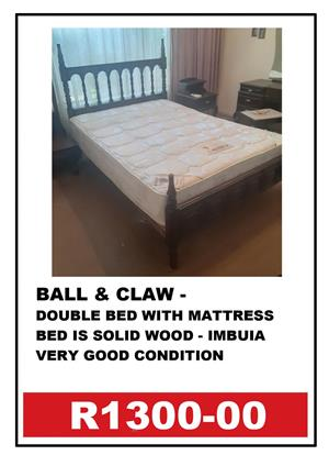 BALL & CLAW DOUBLE BED + MATTRESS