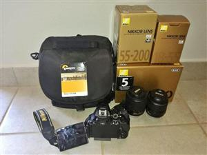 Nikon D5500 with lenses and bag