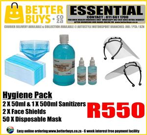 Hygiene Pack – 2 X 50ml & 1 X 500ml Sanitizers – 2 X Face Shields – 50 X Disposable Mask R550