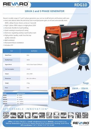Revaro 10 kVa Silent Diesel genset 220/380 volt with ats