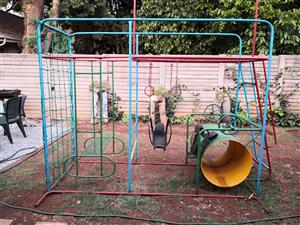 STEEL JUNGLE GYM - BRIGHT COLOURED. 250CM L / 100CM W / 260CM H