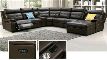 Lounge suite sofa set genuine leather uppers electric 3 motion wireless/speaker