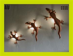 Set of Three Gecko Wall Mount Lights - SKU 85