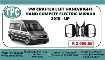 VW Crafter Left Hand/Right Hand Compete Electric Mirror 2018 - Up - For Sale at TPC