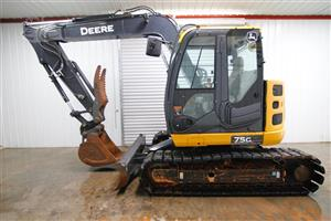 2015 JOHN DEERE 75G MINI COMPACT TRACK EXCAVATOR, FRONT AUX HYDRAULICS HIRE