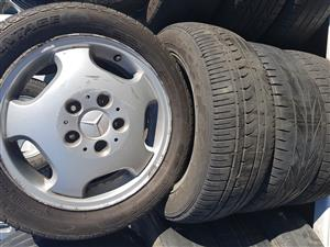 Mercedes mag rims and tyres 195.50R15 for sale.