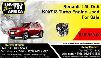 Renault 1.5L Dcti K9k718 Turbo Engine Used For Sale.